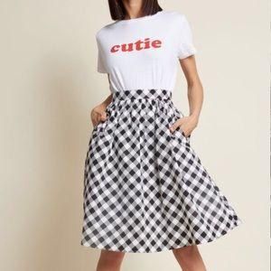 ModCloth Medium Cotton Gingham Skirt POCKETS